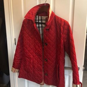 Burberry quilted coat in red, size medium